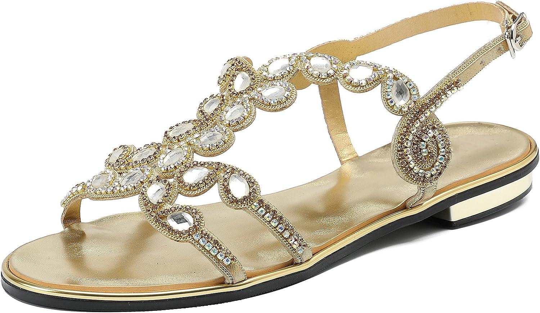 Honeystore Women's Drip Rhinestones Low Heels Sandals Casual shoes