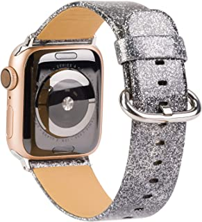 TOYOUTHS Christmas Holiday Bands Compatible with Apple Watch Bands 38mm 40mm Rose Gold Sparkly Women Glistening Leather Bling Diamond Dressy Genuine Shiny Glitter Strap for IWatch Series 5 4 3 2 1