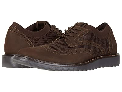 Dockers Hawking Knit/Leather Smart Series Dress Casual Wingtip Oxford with NeverWet (Brown Knit/Nubuck) Men