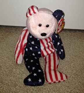 Pink Face Spangle the Stars & Stripes Patriotic Teddy Bear - Ty Beanie Babies