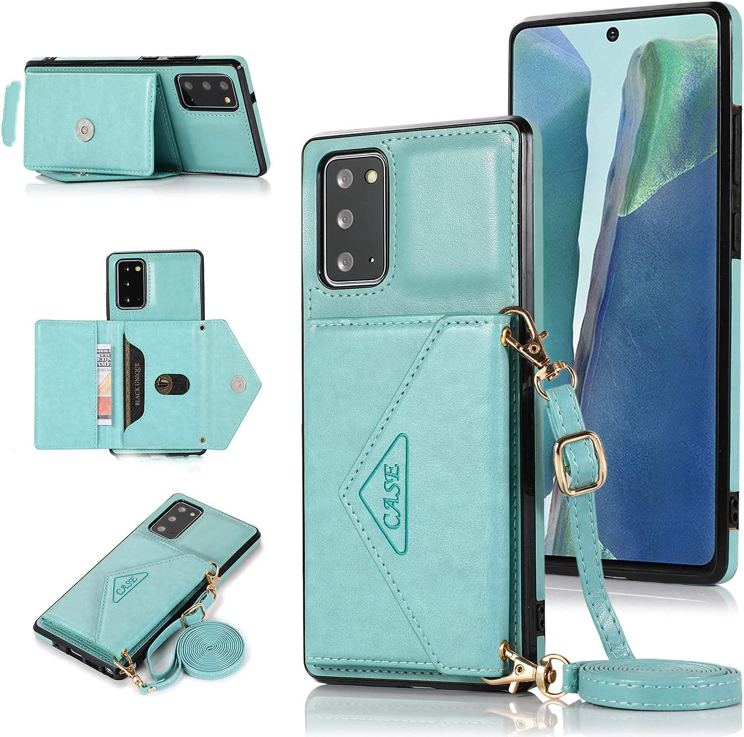 ISYSUII Crossbody Case for Samsung Galaxy A31 Wallet Case with Card Holder Kickstand Detachable Lanyard Strap Leather Shockproof Protective Flip Cover Magnetic Handbag Cover,Green