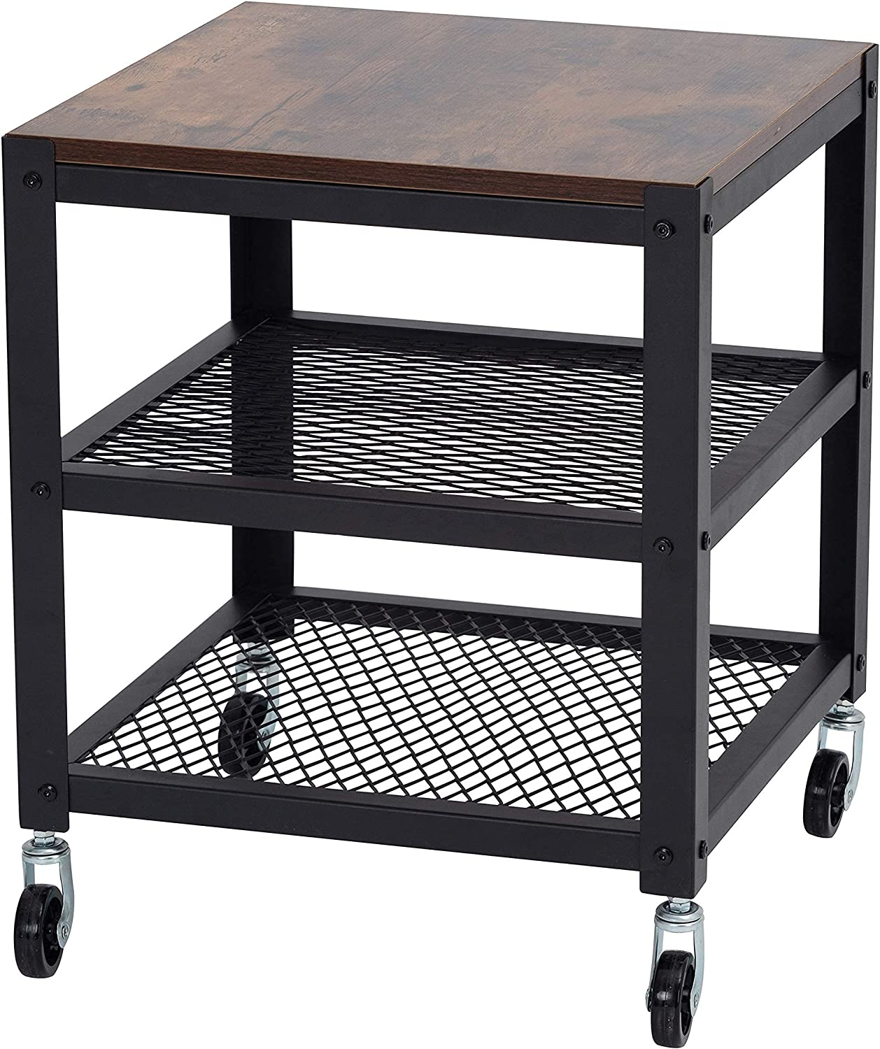 Easy Assembly Industrial High order End Table Storage with Wheels Open 1 year warranty