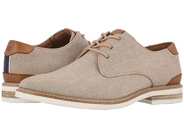 Florsheim  Highland Canvas Plain Toe Oxford (Sand Canvas/White Sole) Mens Shoes