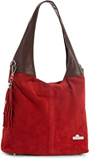 LiaTalia Womens Girls Genuine Italian Suede and Soft Leather Hobo Shopper Shoulder Tote Handbag - Agnes