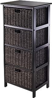 Winsome Omaha Storage/Organization, 4 Baskets, Black/Chocolate