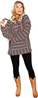 Mexican Style Baja Hoodie Poncho   Jergas Unisex (View Sizes, Colors)