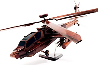 Apache Replica Helicopter Model Hand Crafted with Real Mahogany Wood