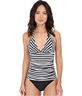 Tommy Bahama - Black & White Striped Halter Tankini Top