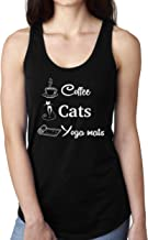 Funny Yoga Coffee Cats and Yoga Mats Tank Top Shirt for Women