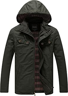Men's Warm Casual Military Jacket with Removable Hood