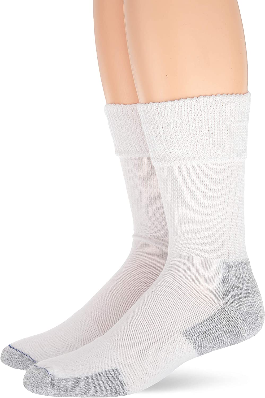 Dr. Scholl's Men's Advanced Relief Non-Binding Crew Socks 2 Pair, White, Shoe Size: 4-10 (Medium)