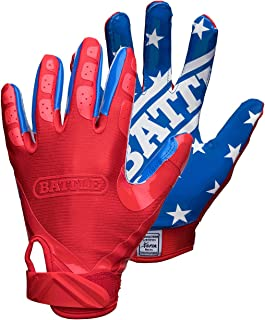 Battle All American Football Gloves – Ultra-Tack Sticky Palm Receivers Gloves – Pro-Style Receiver Gloves, Youth