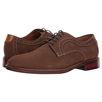 Johnston & Murphy Warner Casual Dress Plain Toe Oxford (Brown Water-Resistant Tumbled Nubuck) Men