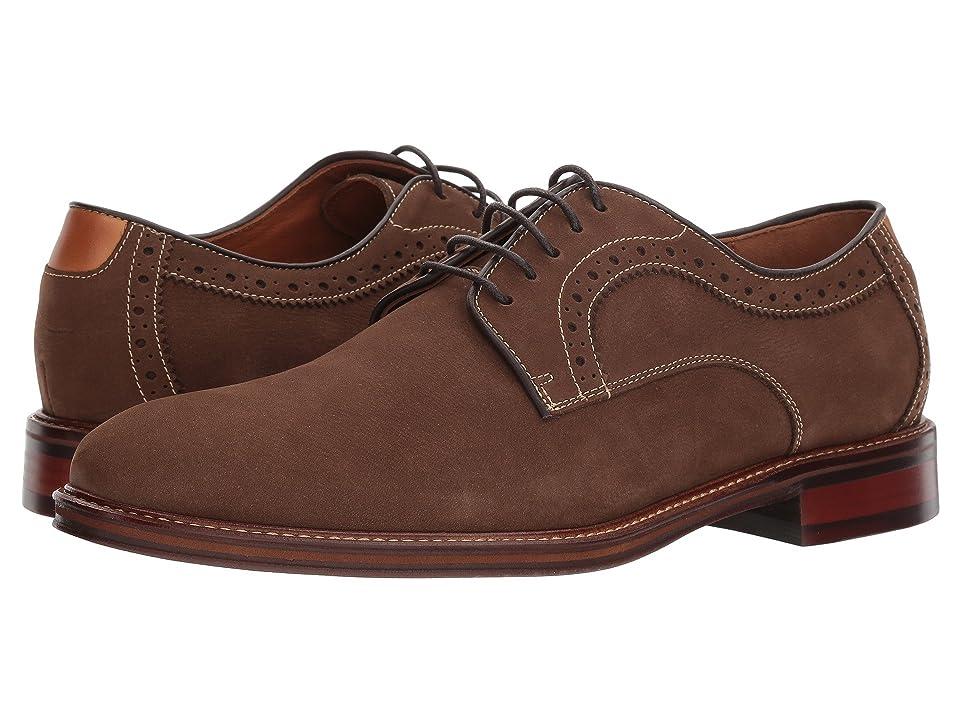 Johnston & Murphy Warner Casual Dress Plain Toe Oxford (Brown Water-Resistant Tumbled Nubuck) Men