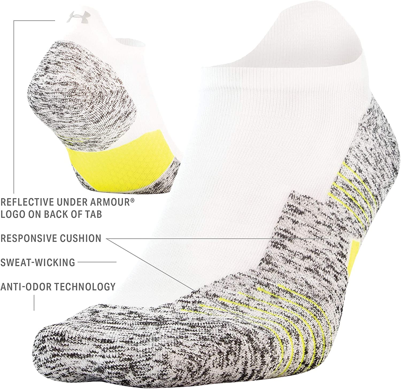Under Armour Adult Run Cushion No Show Tab Socks, 1-Pair : Sports & Outdoors