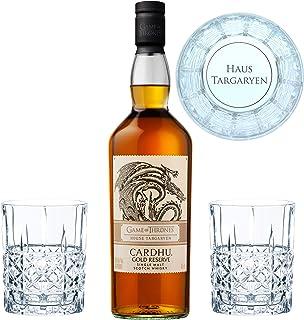 Game of Thrones Haus Targaryen Set, Cardhu Gold Reserve Whisky  2 gravierte Whiskygläser, Schnaps, Alkohol, 40%, 700 ml