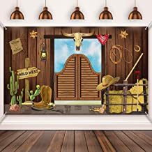 Western Party Supplies, Large Fabric Saloon Yeehaw Western Scene Setters for Western Themed , Wooden House Barn Banner Cow...