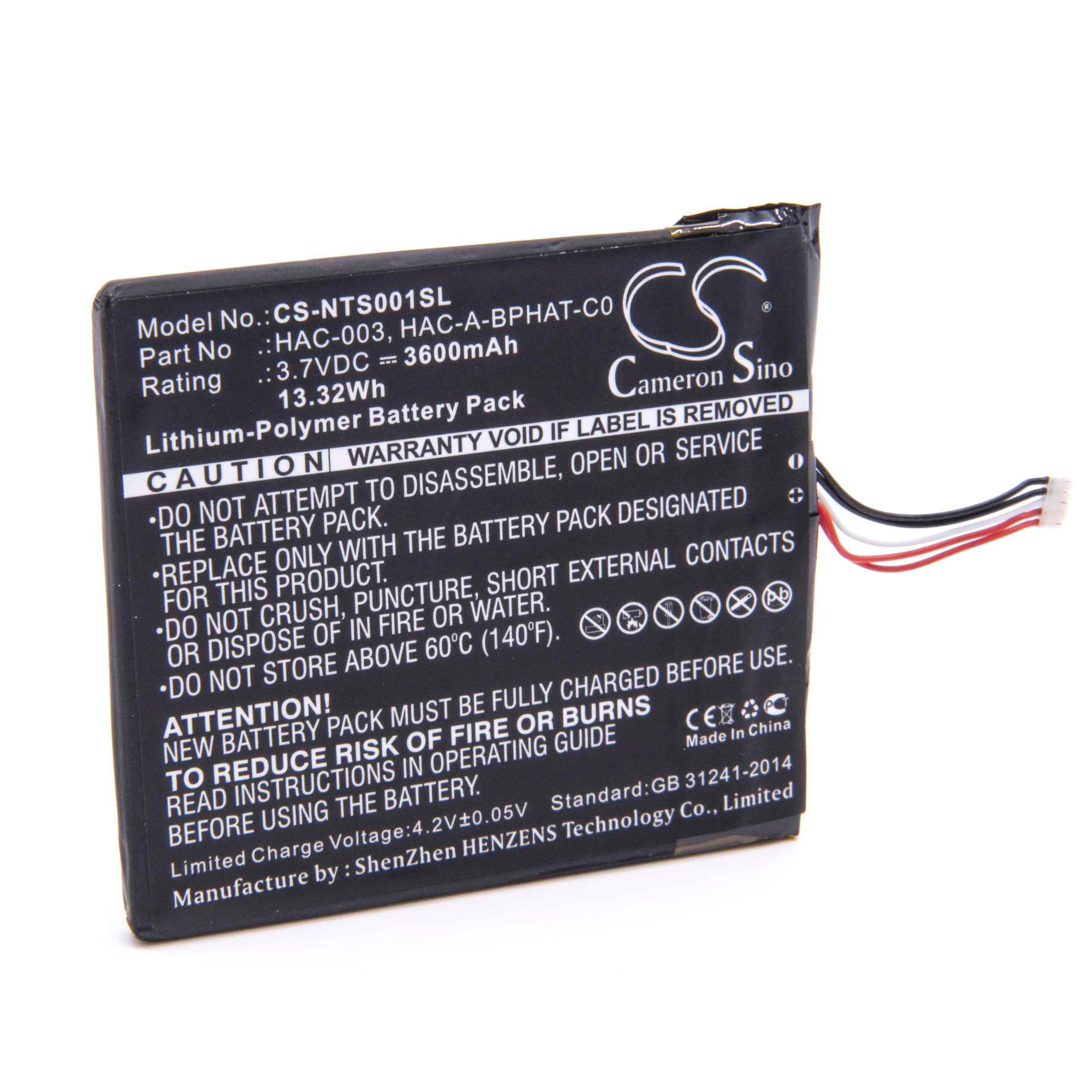 vhbw litio polímero batería 3600mAh (3.7V) para consola Nintendo Switch, HAC-001, HAC-S-JP/EU-C0: Amazon.es: Videojuegos