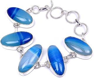 Nimbark Blue Botswana Agate Handmade Jewelry Bracelet 7'' to 9''