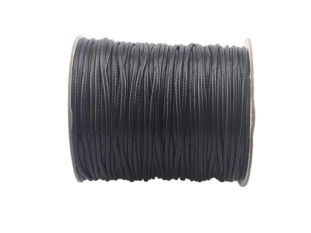 QIANHAILIZZ 100 Yards 2.0 mm Waxed Jewelry Making Cord Waxed Beading String Craft DIY Thread (Black)