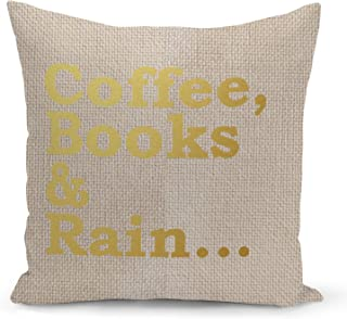 Coffee Books Pillow Beige Linen Pillow with Metalic Gold Foil Print Reading Couch Pillows