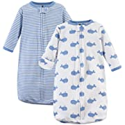 Hudson Baby Unisex Baby Cotton Long-Sleeve Wearable Sleeping Bag, Sack, Blanket, Blue Whales, 0-3 Months