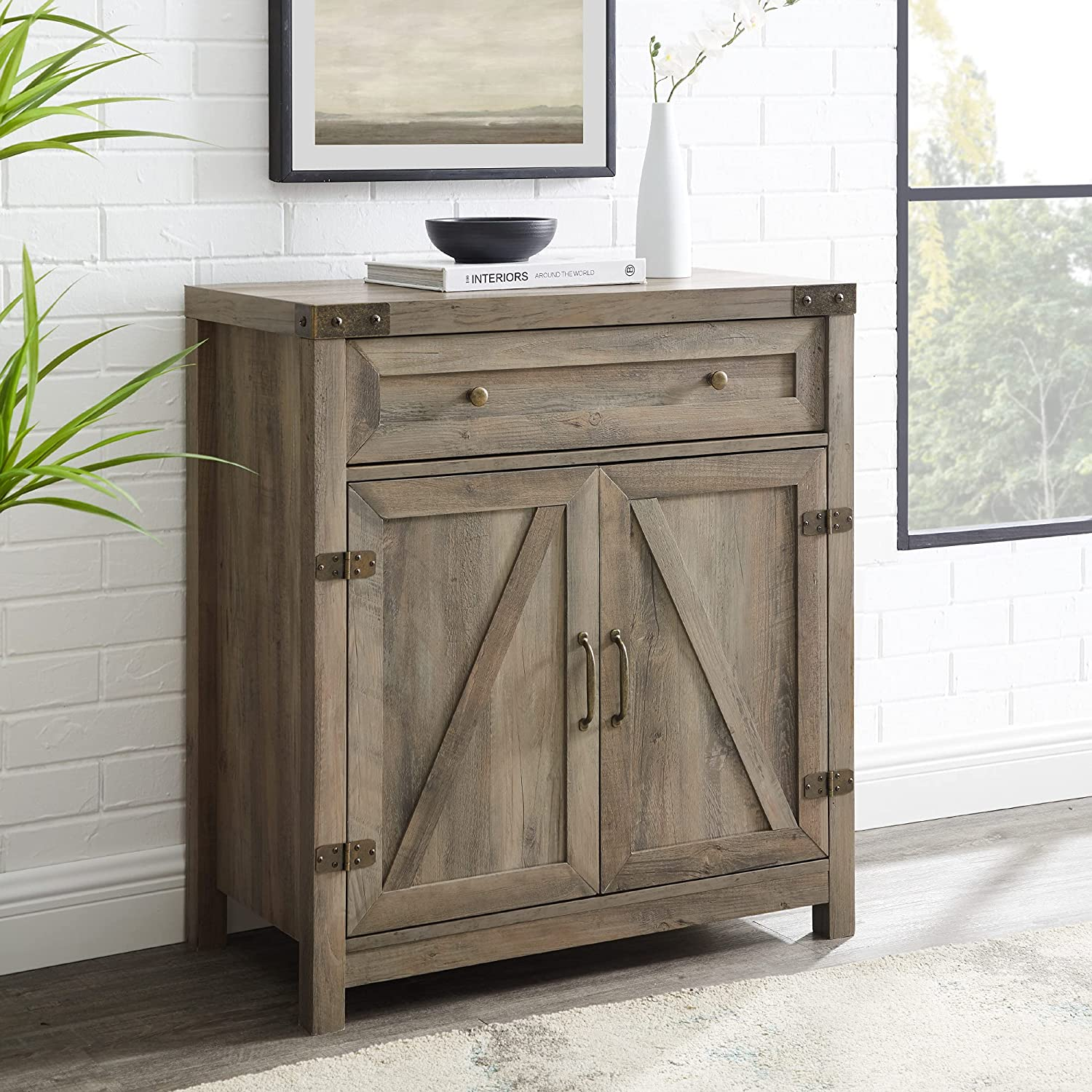 Modern Farmhouse Barn Door Cabinet Popular products Accent Grey Finally resale start Stone