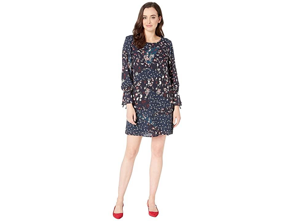 Bobeau Printed Shift Dress with Tie Sleeves (Navy Indian Teal) Women