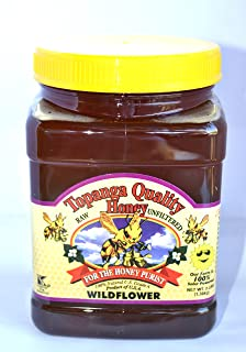Topanga Quality Honey (Wildflower Floral Source) Raw, Unfiltered, Unpasturized, Best Quality, All Natural, Kosher - 3 Pounds Each