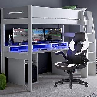FurnitureR Silla para Juegos Silla de Oficina ejecutiva de PU con Respaldo Alto Silla de Escritorio giratoria Silla ergonó...