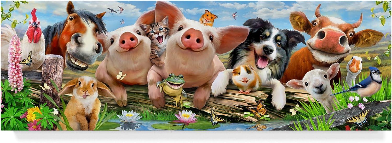 Trademark Fine Art ALI24013C824GG Happy Farm Animals by Howard Robinson Canvas Art, Multicolor, 8x24