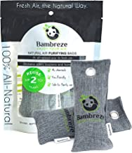 Bambreze - Two 75g (Large) Natural Air Purifying Bags, Shoe Deodorizer and Odor Neutralizer. Bamboo Activated Charcoal Air Freshener. Absorbs Odors and Moisture Naturally. (Two 75g Bags Per Package)