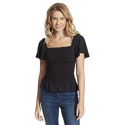 Jessica Simpson Marie Ss Smocked Blouse (Black