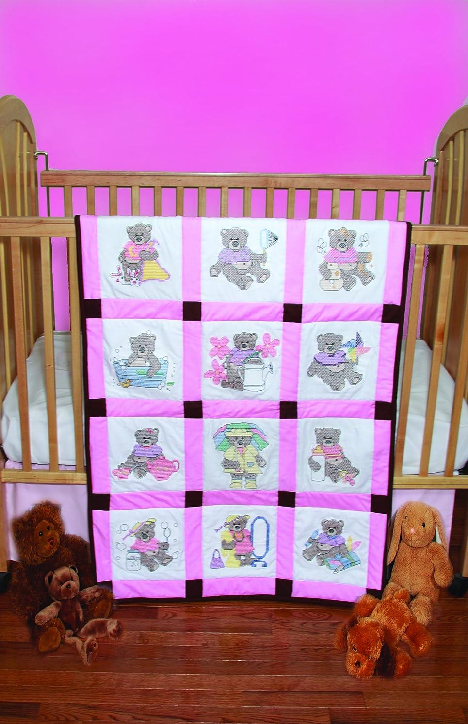 Fairway 92320 Baby Quilt Block, Cross Stitch Girl Bear Design, Twelve Blocks, White
