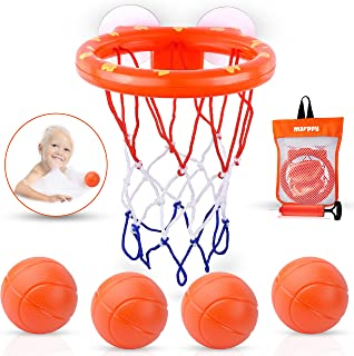 MARPPY Bath Toys, Bathtub Basketball Hoop for Toddlers Kids, Boys and Girls with 4 Soft Balls Set & Strong Suction Cup, Ba...