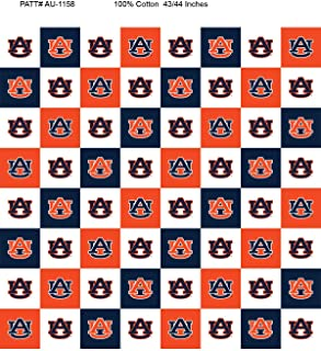 Auburn Cotton Fabric with New Mini Check Design-Newest Pattern-NCAA Cotton Fabric