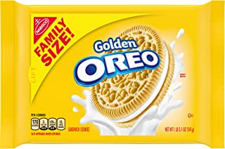 OREO Golden Sandwich Cookies, Vanilla Flavor, 1 Resealable Family Size Pack