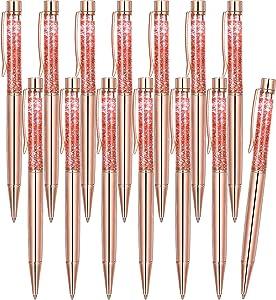 14 Pieces Cute Office Supplies For Women, Rose Gold Ballpoint Pens Retractable Pink Metal Pen Liquid Glitter Pen Pink Desk Accessories