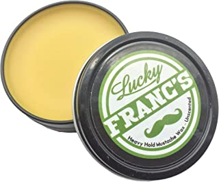 Lucky Franc's Unscented Mustache Wax: Classic Strong Hold Moustache and Beard Wax - All Natural and Scent Free Balm Formula with Beeswax and Coconut Oil - USA Made Styling Wax for Men - 2 Ounces