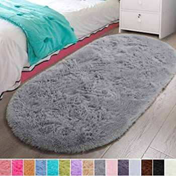 LOCHAS Ultra Soft Children Rugs Room Mat Modern Shaggy Area Rugs Home Decor 2.6 x 5.3 Blue