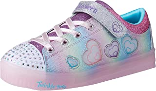 Skechers Australia Shuffle Brights - Heart Dancer Girls Training Shoe, Pink/Silver