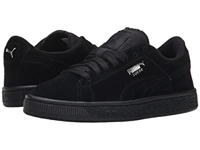 PUMA Kids Suede Jr (Big Kid) (Black/Puma Silver) Kids Shoes