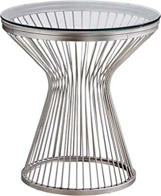 """Monarch Specialties Round End Accent Metal Curved Steel Rods Wire Base for Living Room Side Table, 24"""", Clear"""
