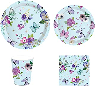 KYMY Butterfly Party Supplies,Butterfly Party Decorations,Butterfly Party Tableware,Including Butterfly Party Plates,Cups ...