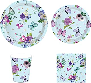 CC HOME Summer Flower Butterfly Party Decorations ,Floral Butterfly Party Supplies Pack – Serves 16 – Includes Plates, Cups and Napkins. Supply Tableware Set Kit for Appetizer, Lunch, Baby Shower, Birthday Party,Tea Party Decorations