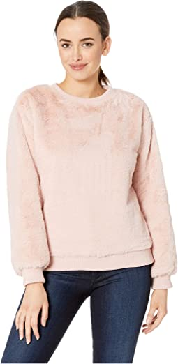 Long Sleeve Faux Fur Rib Hem Sweatshirt