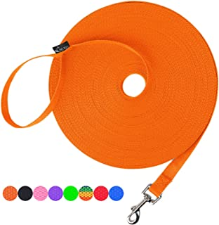 Best Hi Kiss Dog/Puppy Obedience Recall Training Agility Lead - 15ft 20ft 30ft 50ft 100ft Training Leash - Great for Training, Play, Camping, or Backyard - Orange 15ft Reviews