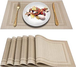 ARTAND Bordstabletter, Bordsunderlägg uppsättning av 6, Vävd Vinyl bordsmatta, Halkfri Värmebeständig Tvättbar Placeringsm...