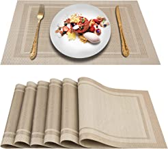 Artand Placemats, Heat-Resistant Placemats Stain Resistant Anti-Skid Washable PVC Table Mats Woven Vinyl Placemats, Set of...