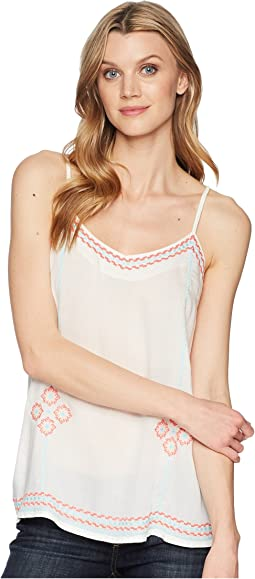 1623 White Rayon Tank with Embroidery